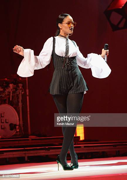 Singer Rihanna performs onstage at the 2016 Global Citizen Festival In Central Park To End Extreme Poverty By 2030 at Central Park on September 24...
