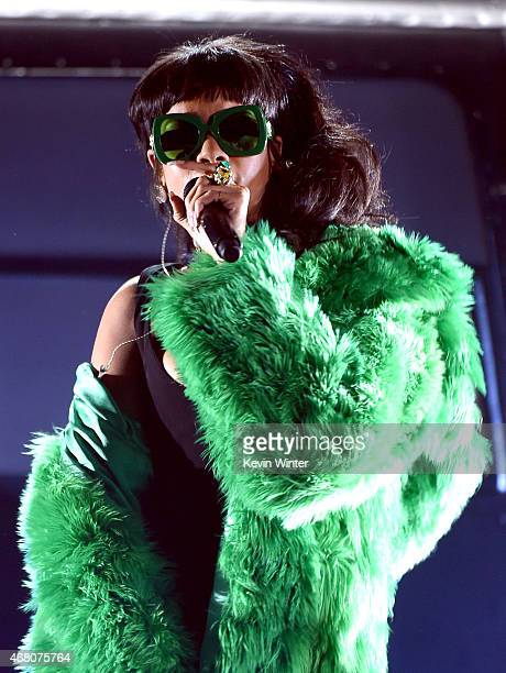 Singer Rihanna performs onstage during the 2015 iHeartRadio Music Awards which broadcasted live on NBC from The Shrine Auditorium on March 29 2015 in...