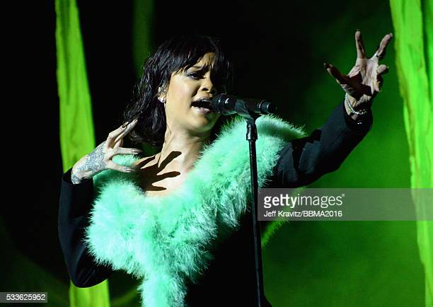 Singer Rihanna performs onstage during the 2016 Billboard Music Awards at TMobile Arena on May 22 2016 in Las Vegas Nevada