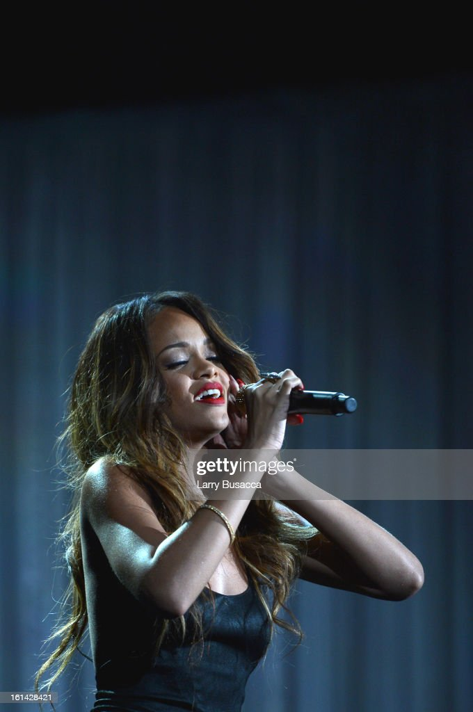Singer Rihanna performs onstage during the 55th Annual GRAMMY Awards at STAPLES Center on February 10, 2013 in Los Angeles, California.