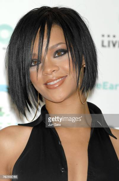 Singer Rihanna poses during press call at the Tokyo leg of the Live Earth series of concerts at Makuhari Messe Chiba on July 7 2007 in Tokyo Japan