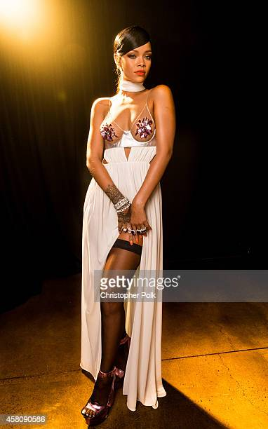 Singer Rihanna poses for photos backstage at Milk Studios on October 29 2014 in Hollywood California