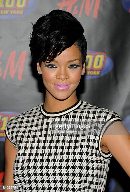 Singer Rihanna poses in the press room during Z100's Jingle Ball at Madison Square Garden on December 12 2008 in New York City