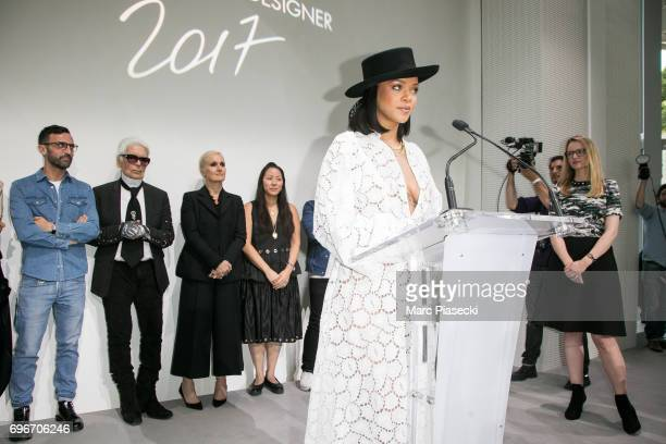 Singer Rihanna presents the 'Young Fashion Designer' LVMH Prize 2017 Edition in front of members of the Jury stylist Nicolas Ghesquiere stylist Karl...