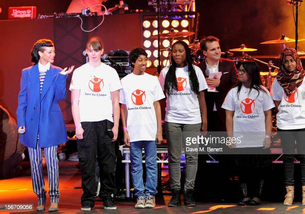 Singer Rihanna switches on the Christmas lights at Westfield Stratford City with Steve Hargrave and young ambassadors from Save The Children...