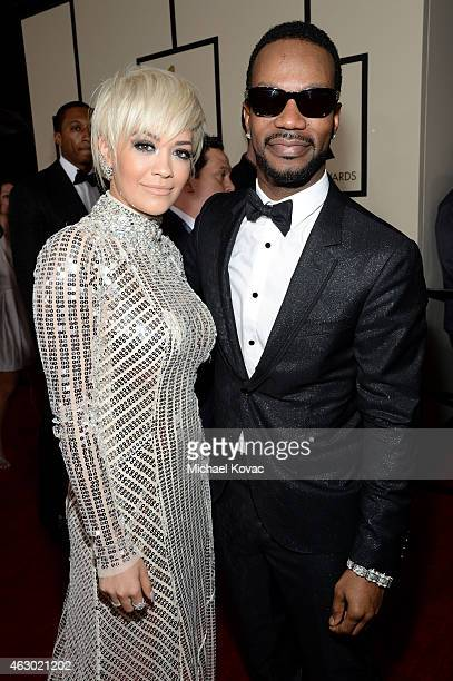 Singer Rita Ora and rapper Juicy J attend The 57th Annual GRAMMY Awards at the STAPLES Center on February 8 2015 in Los Angeles California