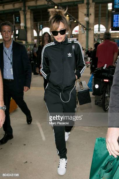 Singer Rita Ora arrives at Gare du Nord station on June 30 2017 in Paris France