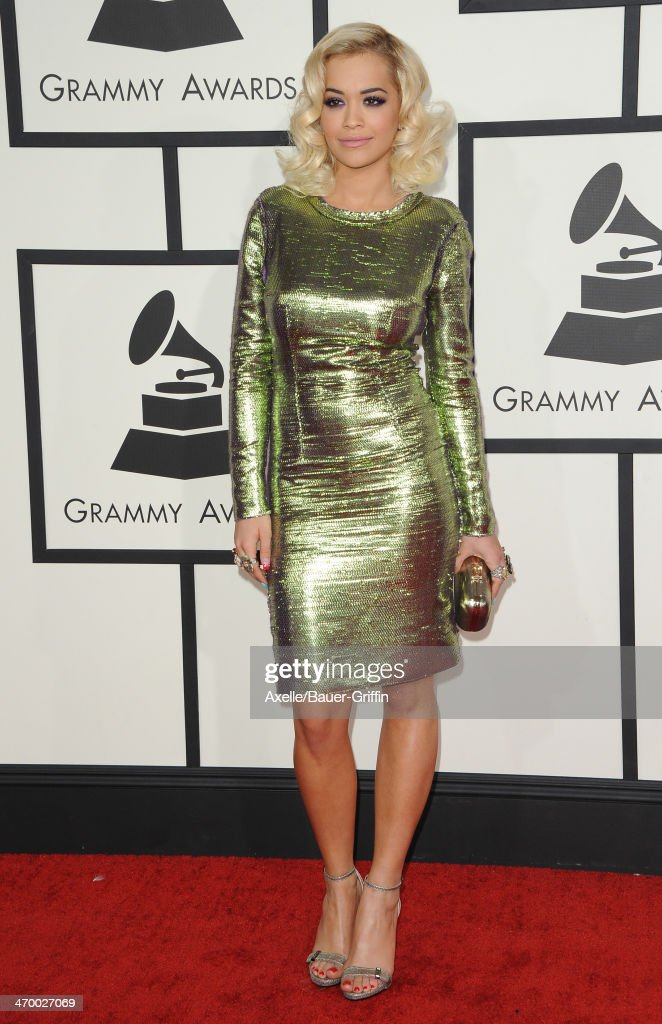 Singer <a gi-track='captionPersonalityLinkClicked' href=/galleries/search?phrase=Rita+Ora&family=editorial&specificpeople=5686485 ng-click='$event.stopPropagation()'>Rita Ora</a> arrives at the 56th GRAMMY Awards at Staples Center on January 26, 2014 in Los Angeles, California.
