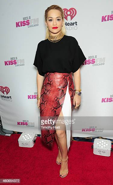 Singer Rita Ora attends 1035 KISS FM's Jingle Ball 2014 at Allstate Arena on December 18 2014 in Chicago Illinois