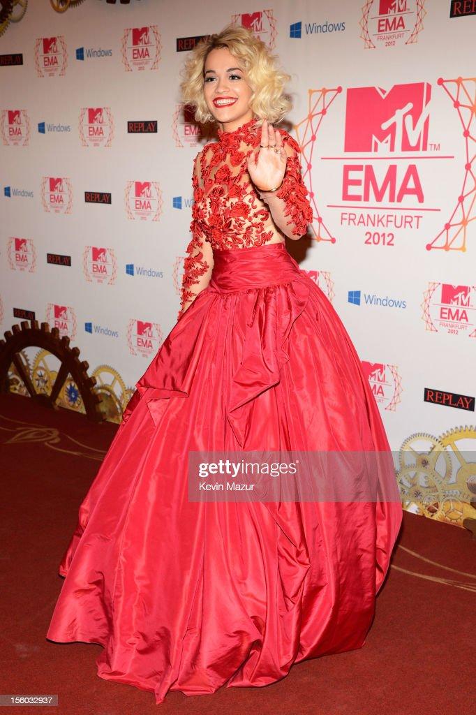 Singer Rita Ora attends the MTV EMA's 2012 at Festhalle Frankfurt on November 11, 2012 in Frankfurt am Main, Germany.