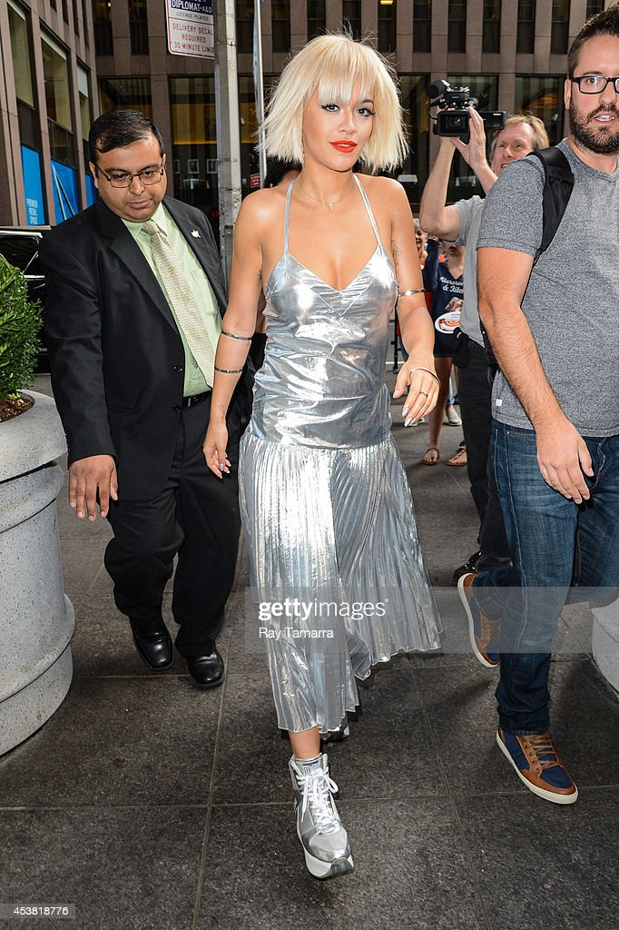 Singer Rita Ora enters the 'FOX & Friends' taping at the FOX Studios on August 19, 2014 in New York City.