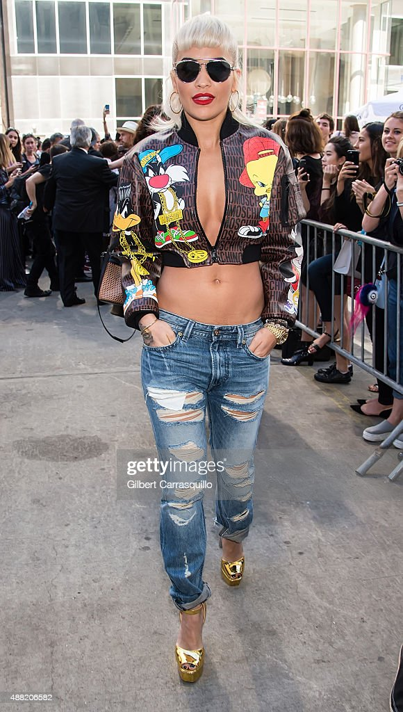 Singer Rita Ora is seen arriving at Jeremy Scott fashion show during Spring 2016 New York Fashion Week on September 14, 2015 in New York City.