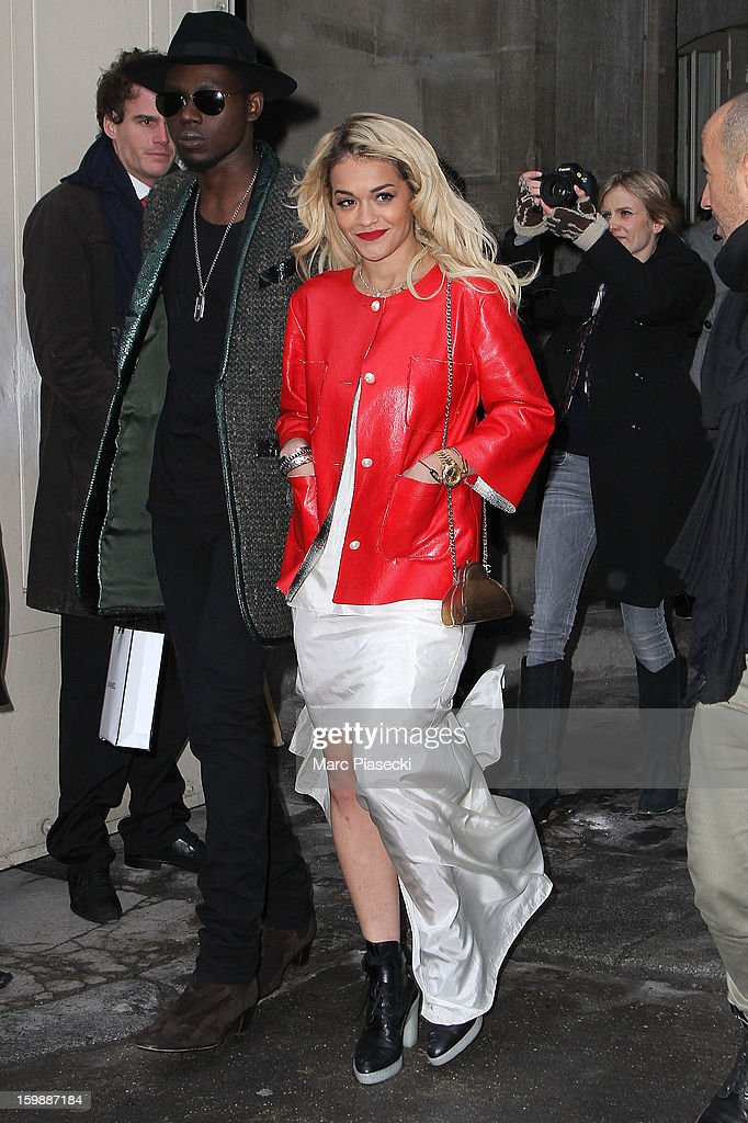 Singer Rita Ora is seen leaving the the Chanel Spring/Summer 2013 Haute-Couture show as part of Paris Fashion Week at Grand Palais on January 22, 2013 in Paris, France.