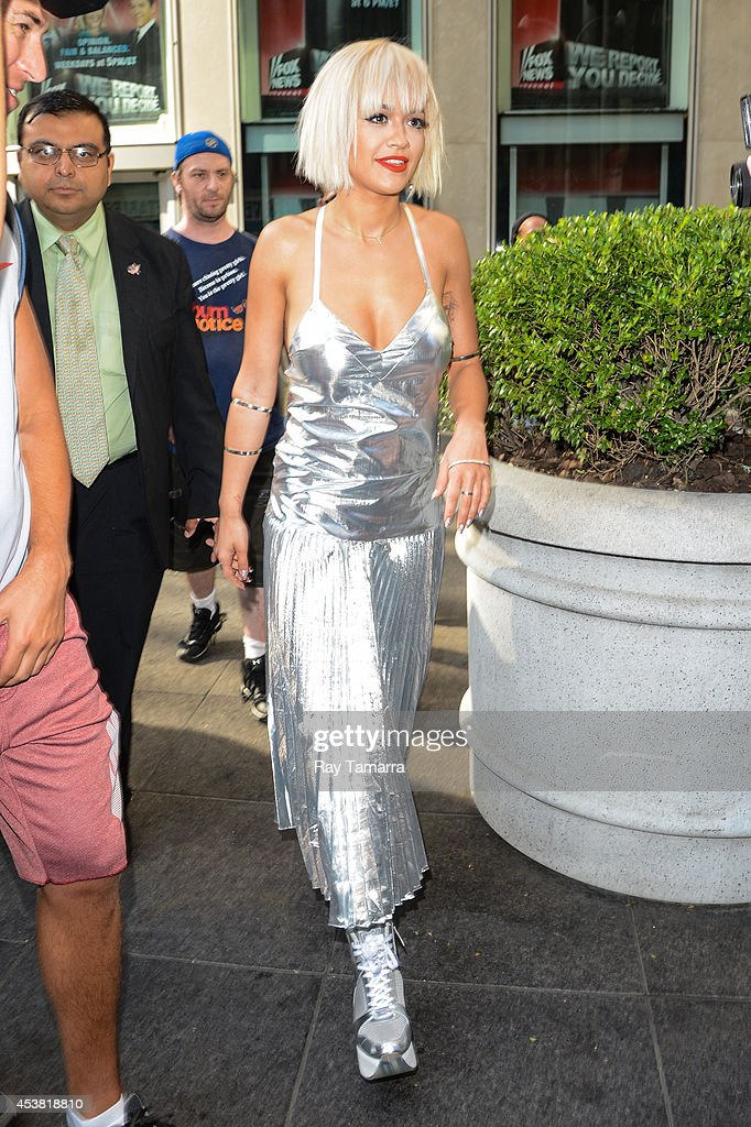 Singer Rita Ora leaves the 'FOX & Friends' taping at the FOX Studios on August 19, 2014 in New York City.
