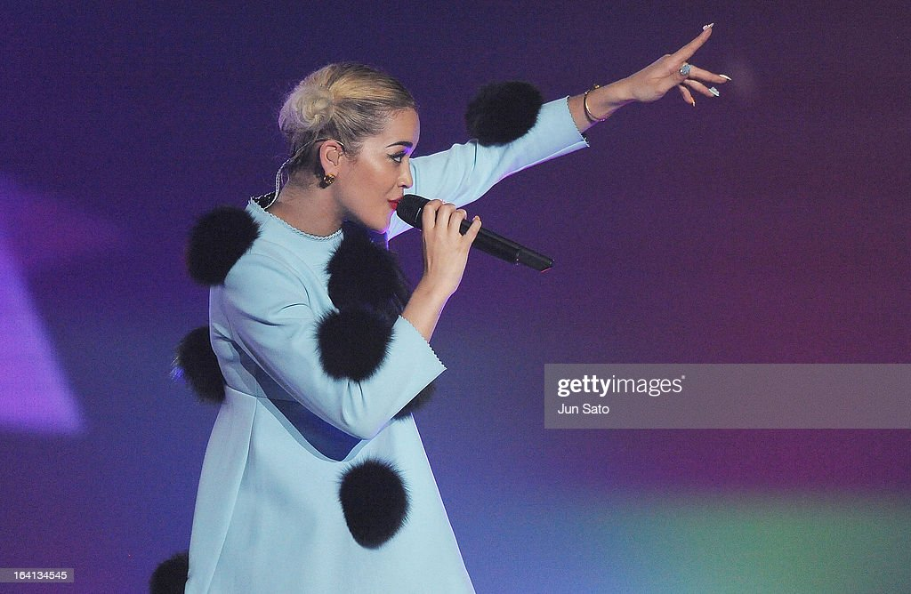Singer Rita Ora performs during the Tokyo Runway 2013 S/S at Yoyogi National Gymnasium on March 20, 2013 in Tokyo, Japan.