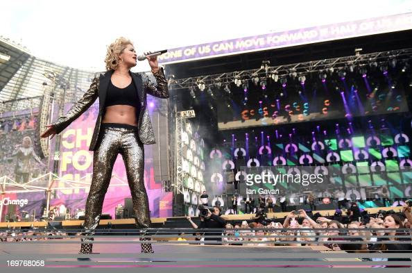 Singer Rita Ora performs on stage at the 'Chime For Change The Sound Of Change Live' Concert at Twickenham Stadium on June 1 2013 in London England...