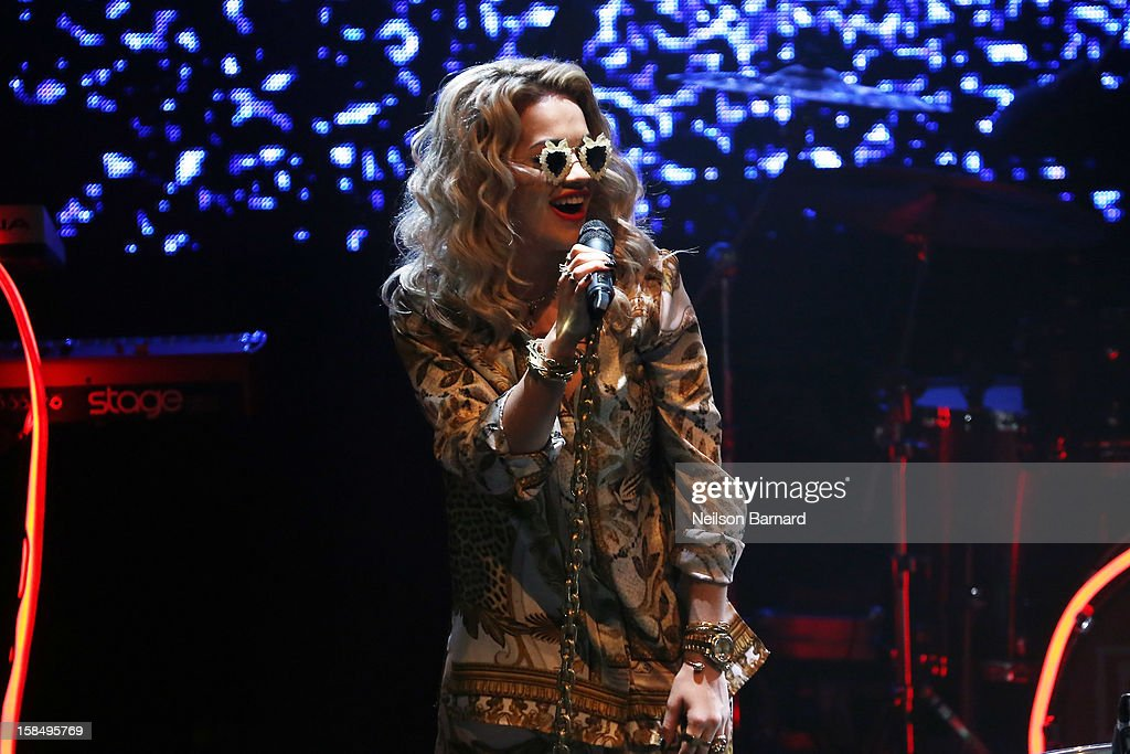 Singer Rita Ora performs on stage at The Highline Ballroom on December 17, 2012 in New York City.