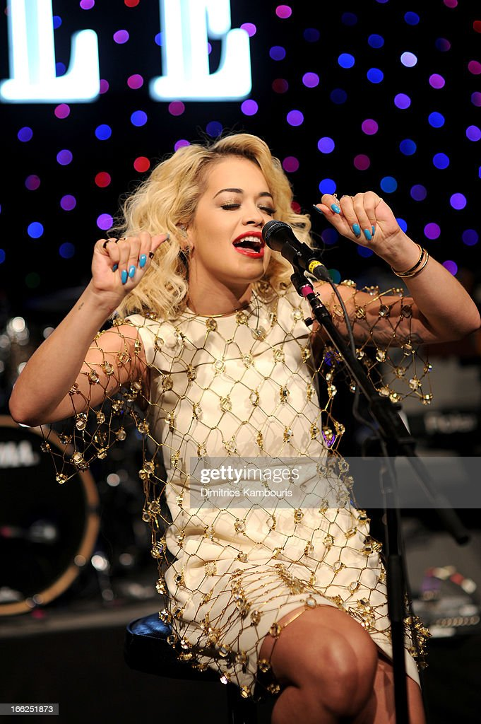 Singer Rita Ora performs onstage at the 4th Annual ELLE Women in Music Celebration at The Edison Ballroom on April 10, 2013 in New York City.