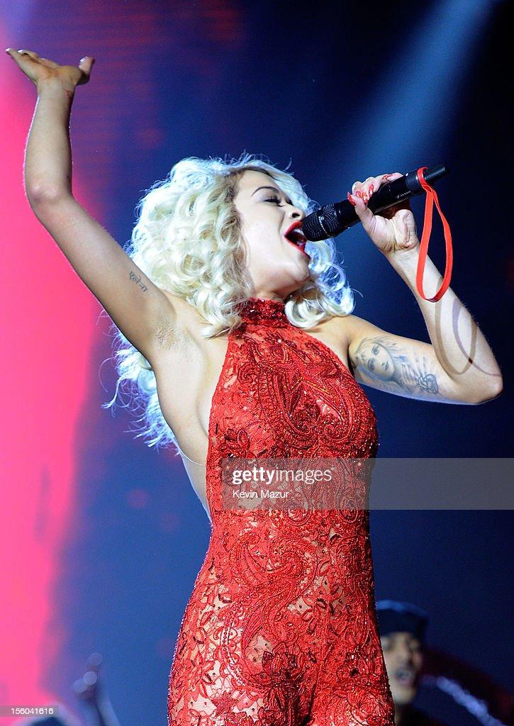 Singer Rita Ora performs onstage during the MTV EMA's 2012 at Festhalle Frankfurt on November 11 2012 in Frankfurt am Main Germany