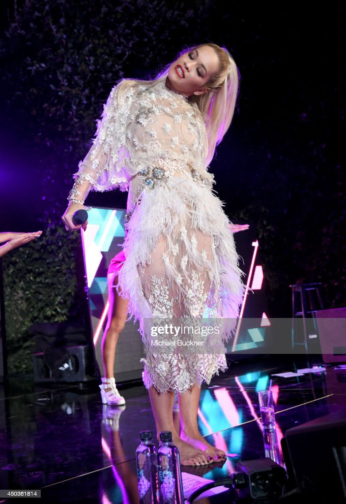 Singer <a gi-track='captionPersonalityLinkClicked' href=/galleries/search?phrase=Rita+Ora&family=editorial&specificpeople=5686485 ng-click='$event.stopPropagation()'>Rita Ora</a> performs onstage during the Take-Two E3 Kickoff Party at Cecconi's Restaurant on June 9, 2014 in Los Angeles, California.