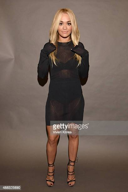 Singer Rita Ora poses backstage at Vera Wang Spring 2016 during New York Fashion Week at Cedar Lake on September 15 2015 in New York City