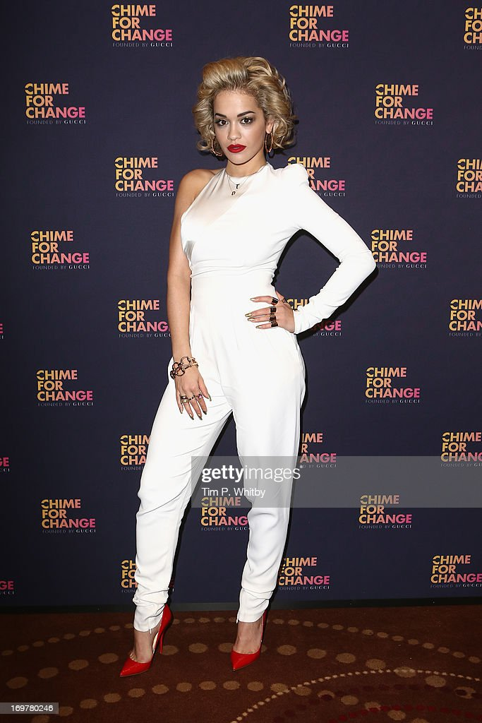 Singer <a gi-track='captionPersonalityLinkClicked' href=/galleries/search?phrase=Rita+Ora&family=editorial&specificpeople=5686485 ng-click='$event.stopPropagation()'>Rita Ora</a> poses backstage in the media room at the 'Chime For Change: The Sound Of Change Live' Concert at Twickenham Stadium on June 1, 2013 in London, England. Chime For Change is a global campaign for girls' and women's empowerment founded by Gucci with a founding committee comprised of Gucci Creative Director Frida Giannini, Salma Hayek Pinault and Beyonce Knowles-Carter.