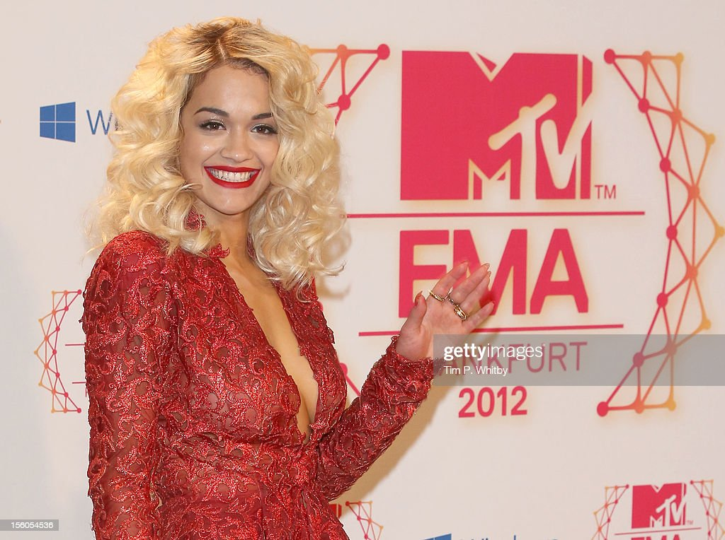 Singer <a gi-track='captionPersonalityLinkClicked' href=/galleries/search?phrase=Rita+Ora&family=editorial&specificpeople=5686485 ng-click='$event.stopPropagation()'>Rita Ora</a> poses backstage in the photo room the MTV EMA's 2012 at Festhalle Frankfurt on November 11, 2012 in Frankfurt am Main, Germany.