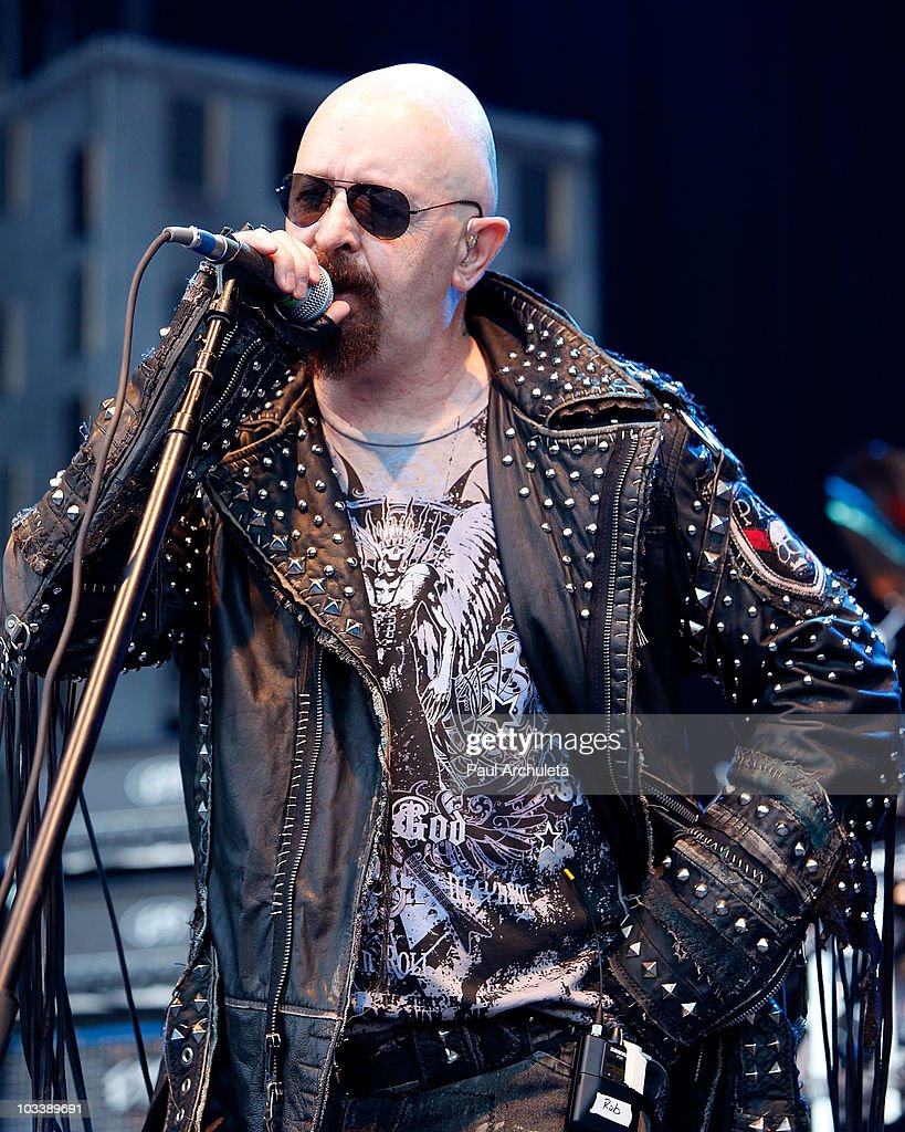 Singer Rob Halford of the heavy metal band Halford performs at OZZFest 2010 in San Bernardino CA at the San Manuel Amphitheater on August 14 2010 in...