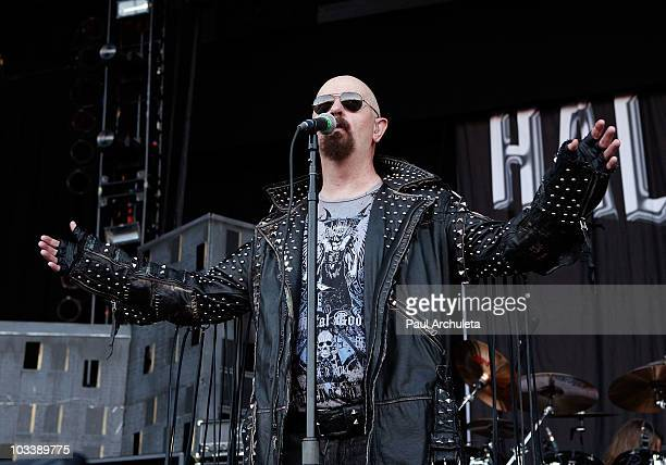 Singer Rob Halford of the heavy metal band performs at OZZFest 2010 in San Bernardino CA at the San Manuel Amphitheater on August 14 2010 in San...