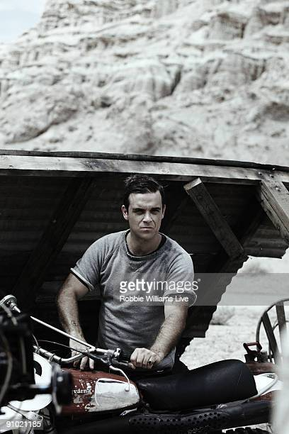Singer Robbie Williams on set of the music video shoot of Bodies in the Mojave desert on August 4 2009