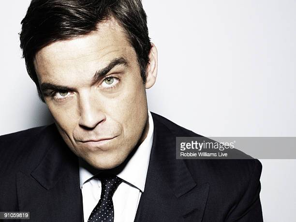 Singer Robbie Williams poses for a portrait shoot by photographer Julian Broad in Wiltshire on June 11 2009