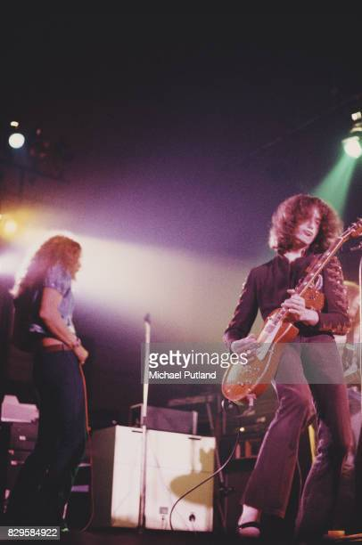Singer Robert Plant and guitarist Jimmy Page of the British rock band Led Zeppelin perform at Newcastle City Hall 1st December 1972