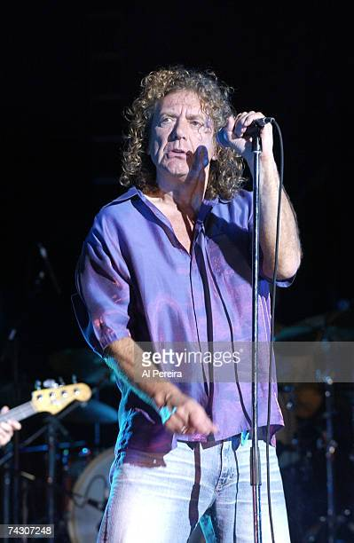 Singer Robert Plant formerly of the rock band 'Led Zeppelin' performs onstage in 2002