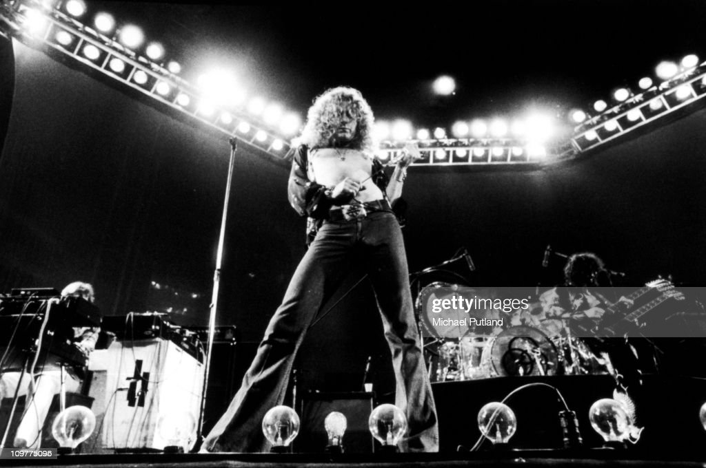 Singer Robert Plant of British band Led Zeppelin performing on stage at Earl's Court in London, England in May 1975.