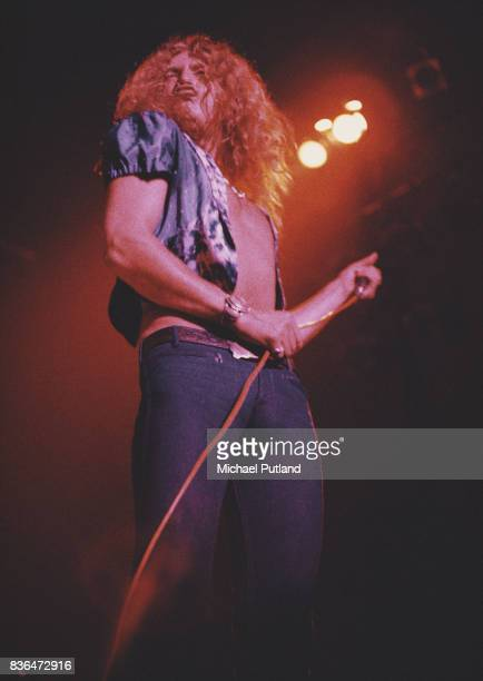 Singer Robert Plant of British rock band Led Zeppelin performs at Newcastle City Hall 1st December 1972