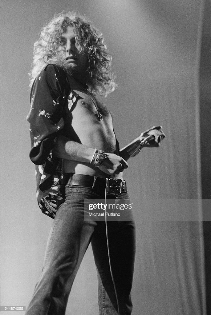 Singer Robert Plant performing with British heavy rock group Led Zeppelin at Earl's Court London May 1975 The band were initially booked to play...