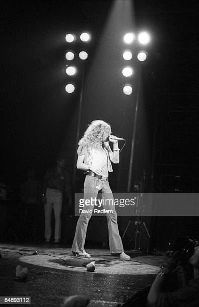 GARDEN Photo of LED ZEPPELIN and Robert PLANT Robert Plant performing on stage during filming for 'The Song Remains The Same'