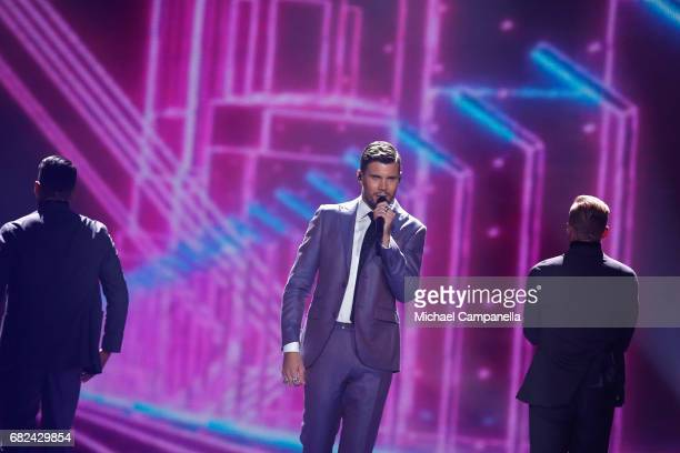 Singer Robin Bengtsson representing Sweden performs the song 'I Can't Go On' during the rehearsal for ''The final of this year's Eurovision Song...