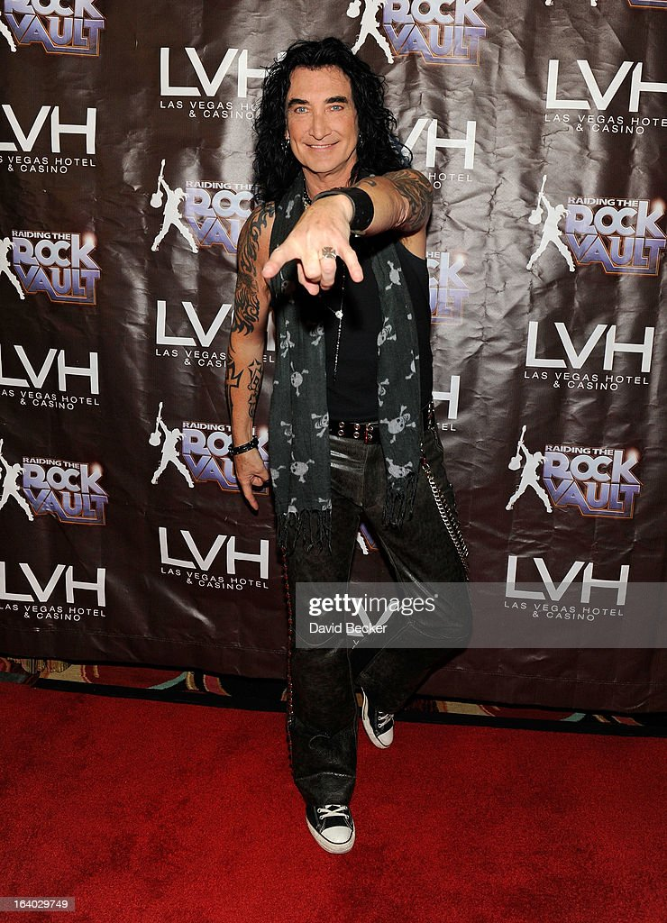 Singer Robin McAuley arrives at the grand opening of 'Raiding the Rock Vault' at the Las Vegas Hotel & Casino on March 18, 2013 in Las Vegas, Nevada.