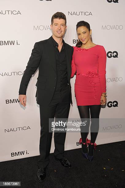 Singer Robin Thicke and actress Paula Patton walk the red carpet at the 2013 GQ Gentlemen's Ball presented by BMW i Movado and Nautica at IAC...