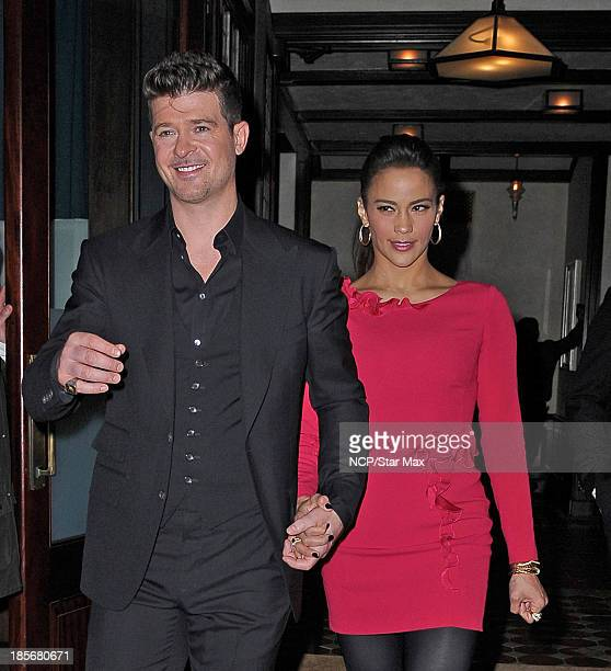 Singer Robin Thicke and Paula Patton are seen on October 23 2013 in New York City