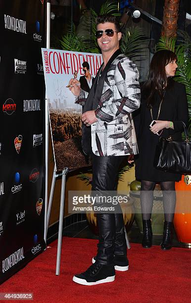 Singer Robin Thicke arrives at the Los Angeles Confidential Grammy Party with Robin Thicke at The Conga Room at LA Live on January 24 2014 in Los...