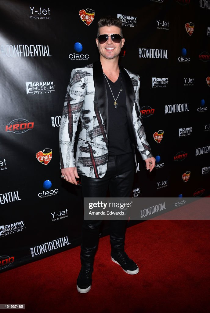 Singer Robin Thicke Arrives At The Los Angeles Confidential Grammy Party  With Robin Thicke At The Part 53