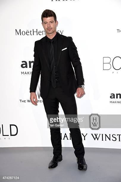 Singer Robin Thicke attends amfAR's 22nd Cinema Against AIDS Gala Presented By Bold Films And Harry Winston at Hotel du CapEdenRoc on May 21 2015 in...
