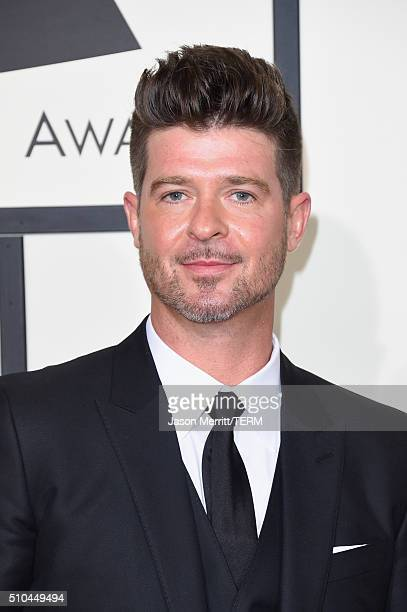 Singer Robin Thicke attends The 58th GRAMMY Awards at Staples Center on February 15 2016 in Los Angeles California