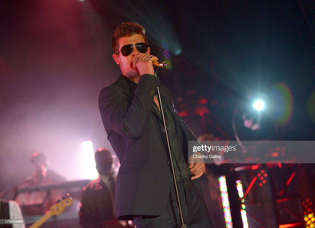 Singer Robin Thicke performs during the new Myspace launch event at the El Rey Theatre on June 12, 2013 in Los Angeles, California.