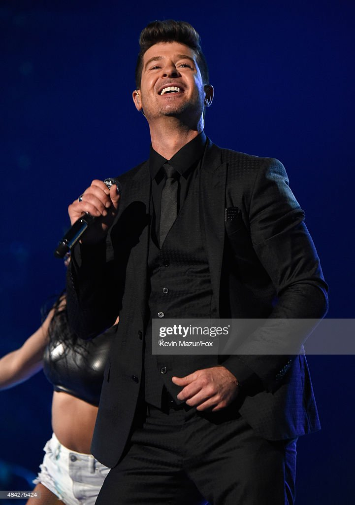Singer Robin Thicke performs onstage during the Teen Choice Awards 2015 at the USC Galen Center on August 16 2015 in Los Angeles California
