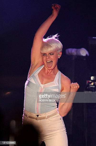 Singer Robyn performs at the MTV O Music Awards in West Hollywood California October 31 2011 The MTV O Music Awards focuses on music achievements in...
