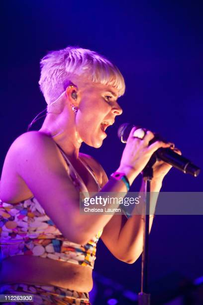 Singer Robyn performs on day 1 of the 2011 Coachella Valley Music Arts Festival at The Empire Polo Club on April 15 2011 in Indio California