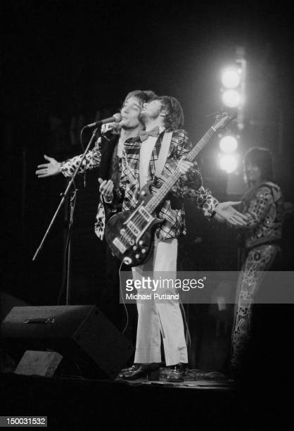 Singer Rod Stewart and bassist Ronnie Lane performing with English rock group Faces at the Rainbow Theatre London 10th February 1972 On the right is...